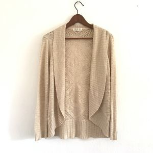 Pink Rose Large Beige Open Front Cardigan